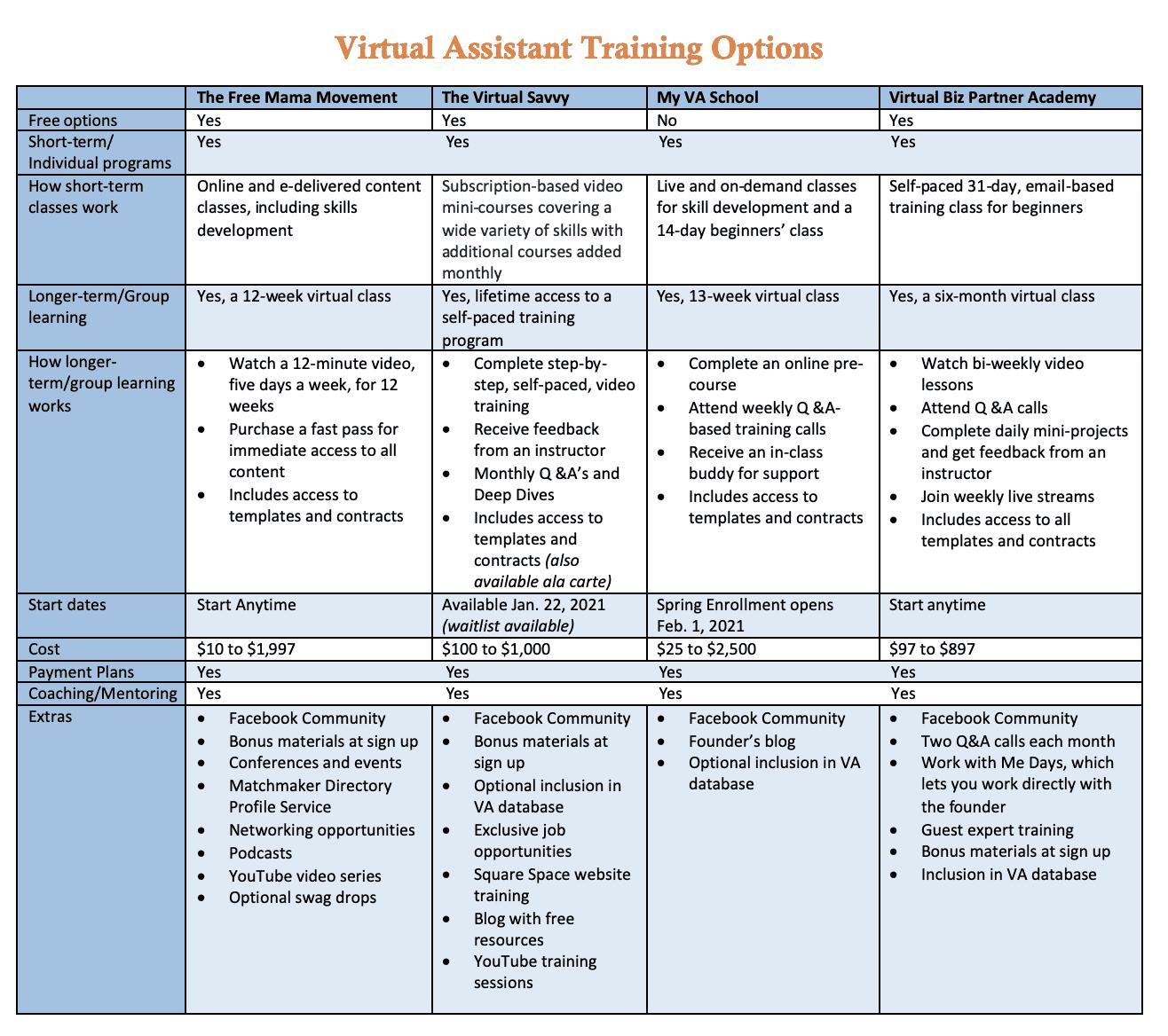 VA Training Options